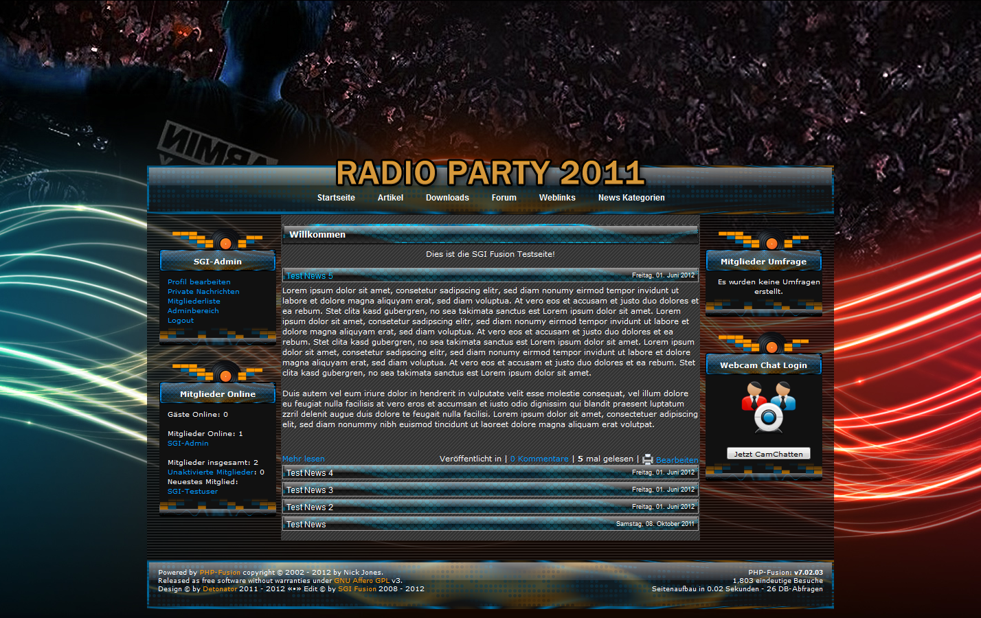 Screenshot Radioparty #1 Template